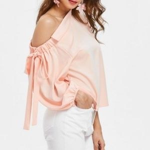Tops - Off Shoulder Blouse Bowknot Pretty Peachy Pink